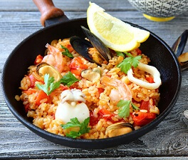 Paella with rice and seafood, delicious food