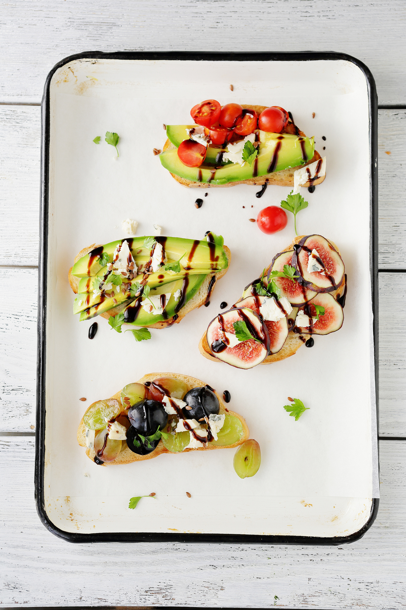bruschetta with fresh vegetables, food top view