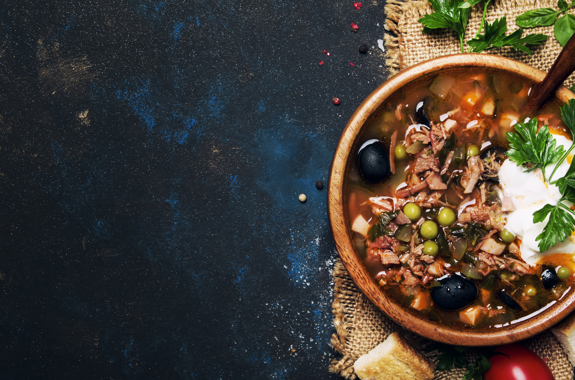Russian Meat Solyanka Soup In Wooden Bowl, Top View