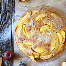apple-quince round cake, top view, food